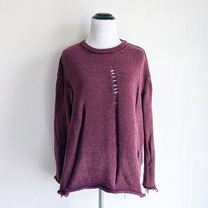 Umgee Burgundy Ripped Sweater